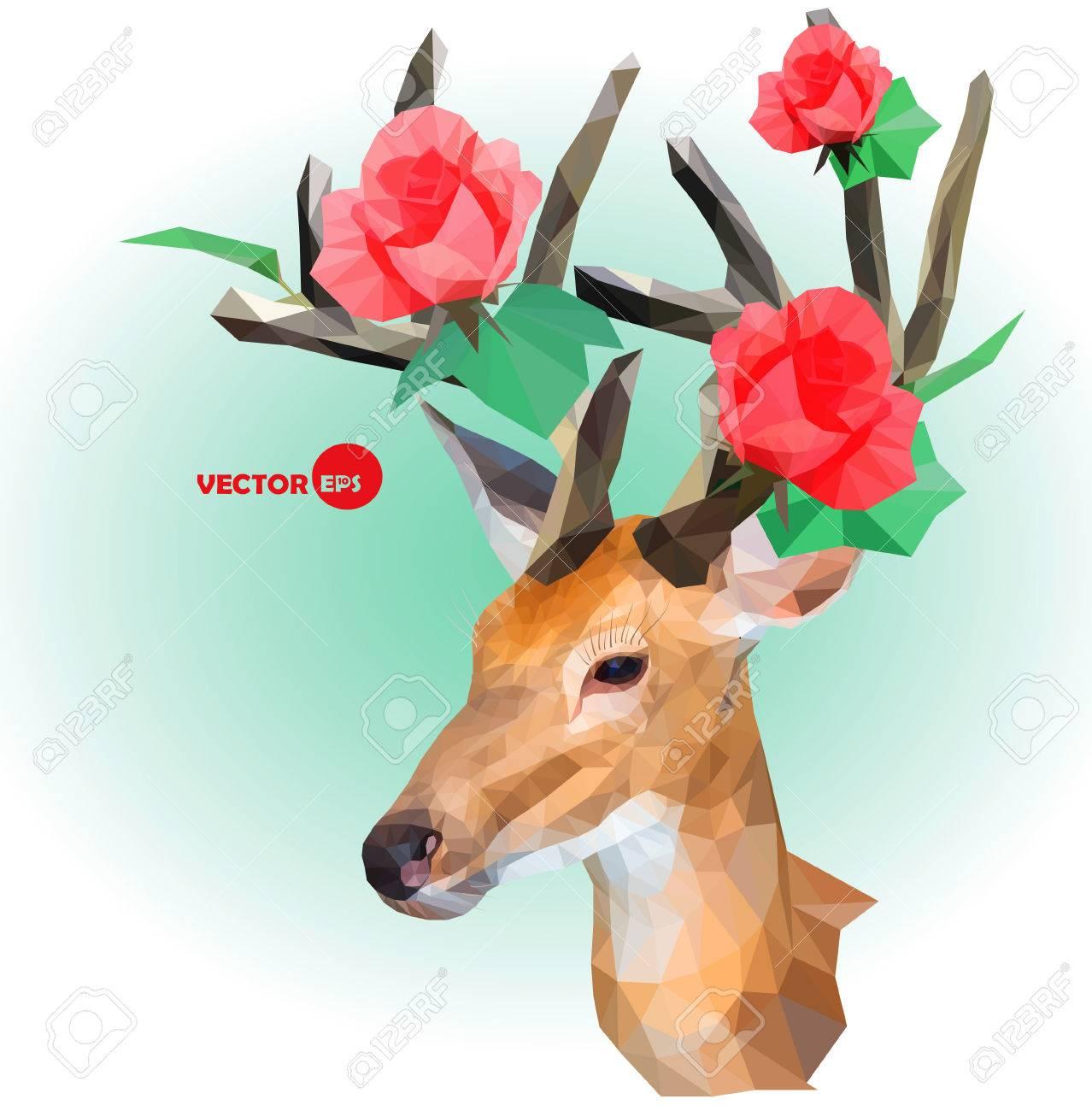 Deer Silhouette Mit Hornern Von Blumen Auf Dem Grunen Hintergrund