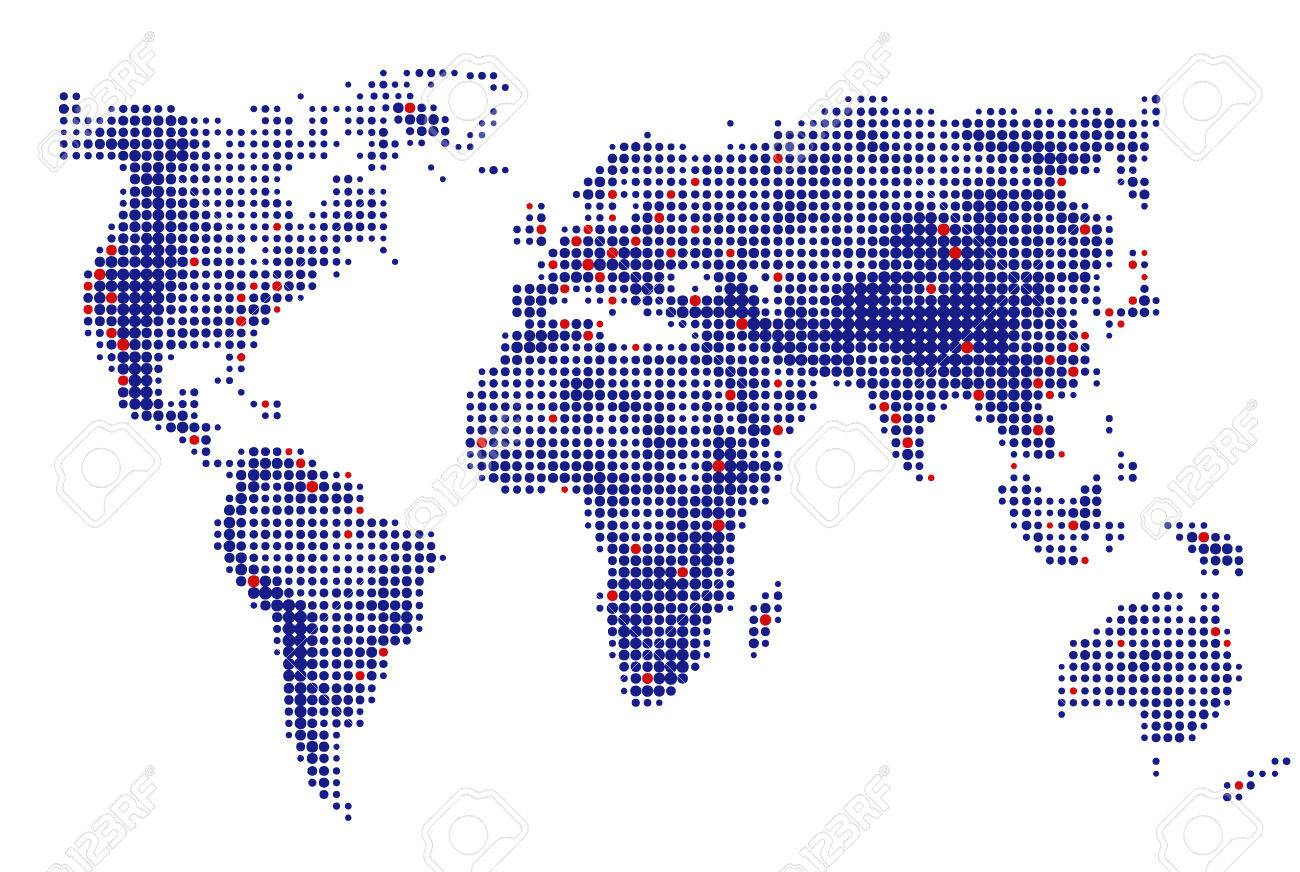 Abstract Dotted World Map Vector Blue Round Dots. Dot World Maps ...