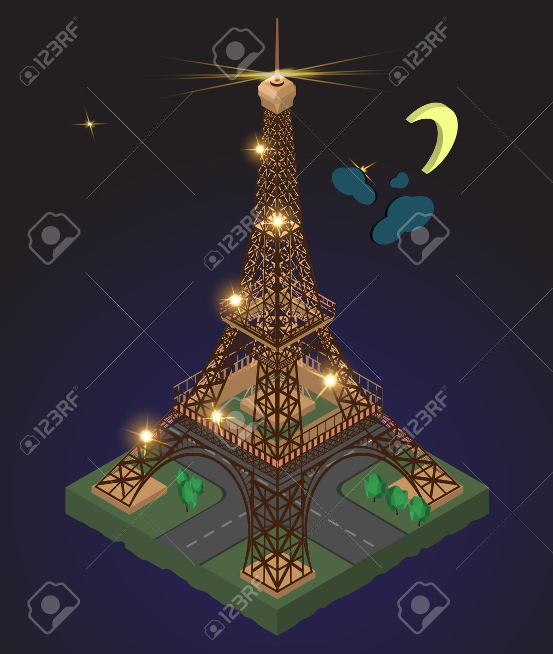 eiffel tower on the background of night sky with stars lights