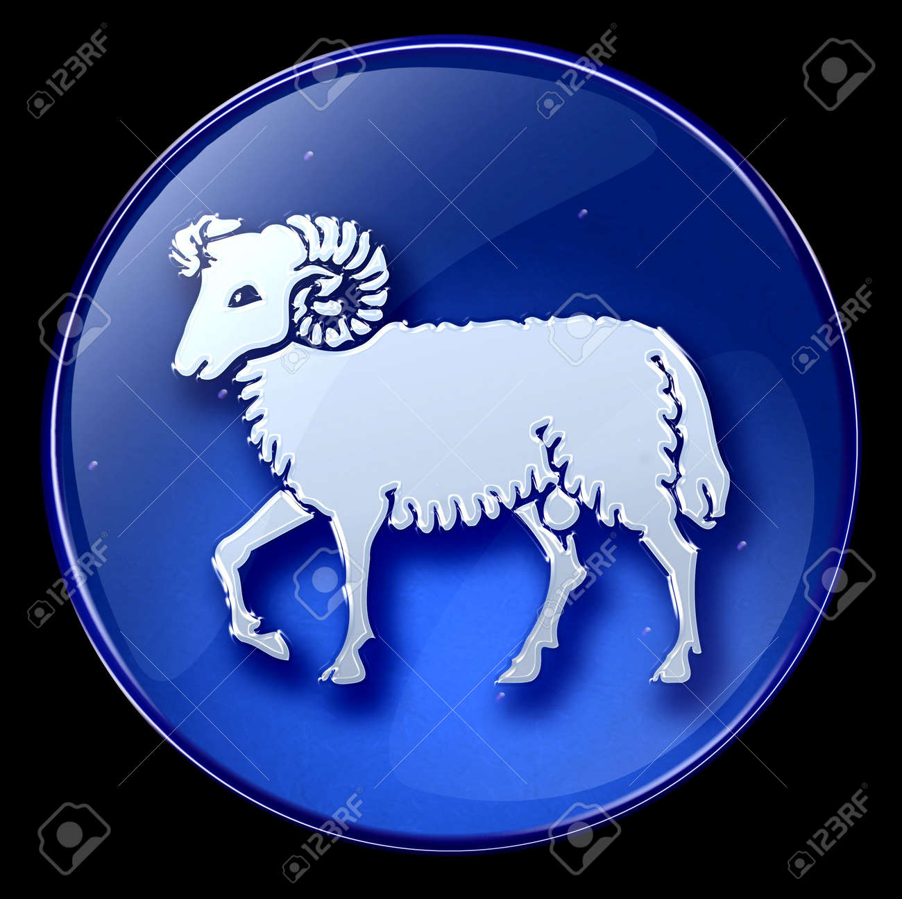 Aries zodiac button icon Stock Photo - 1280329