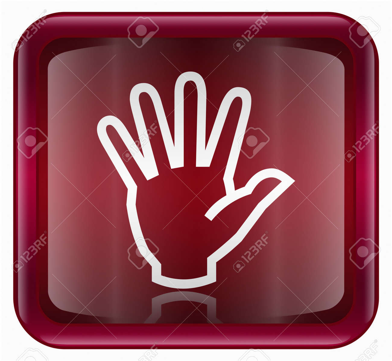 hand icon red, isolated on white background Stock Photo - 2196517