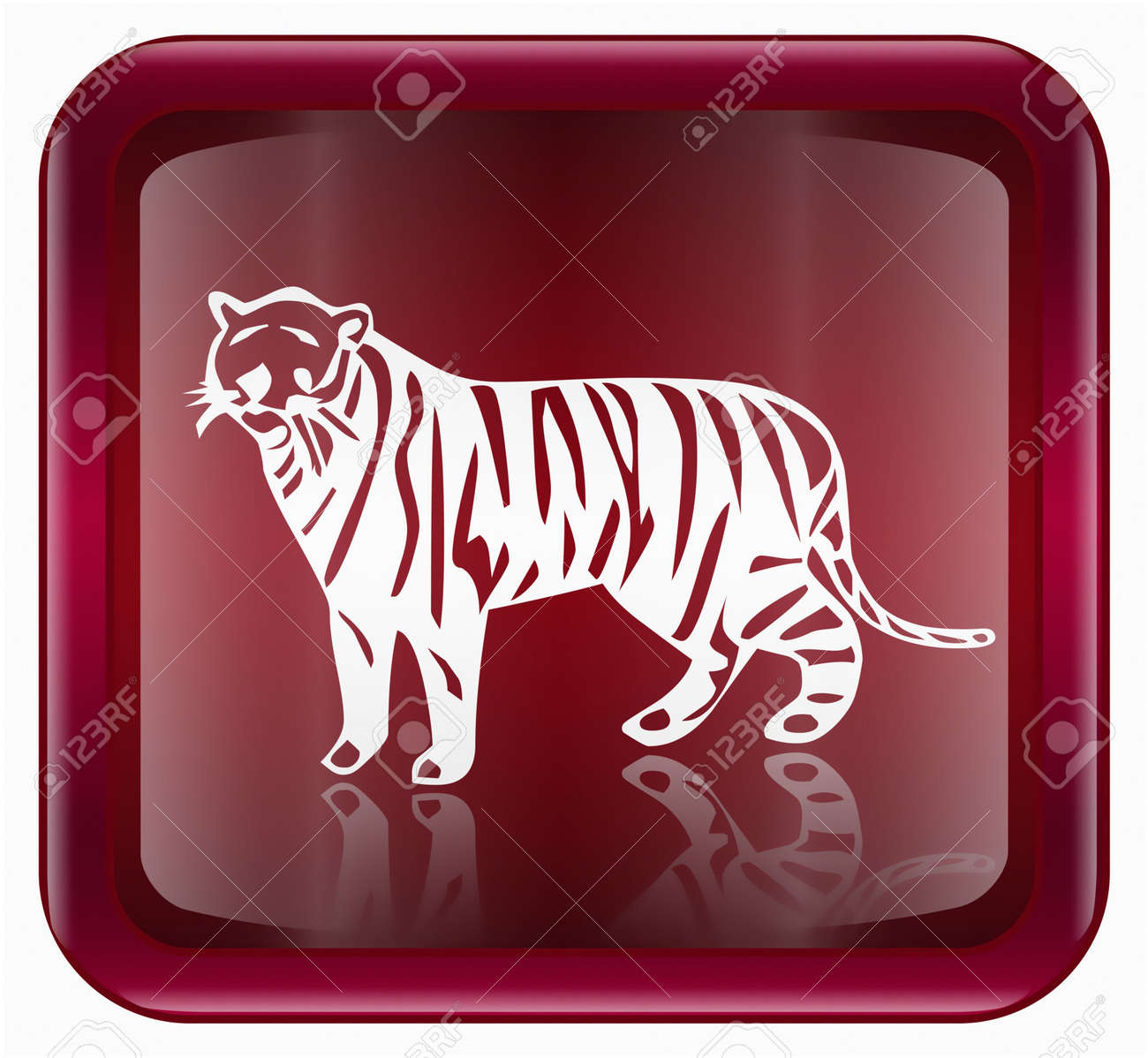Tiger Zodiac icon red, isolated on white background. Stock Photo - 2282615