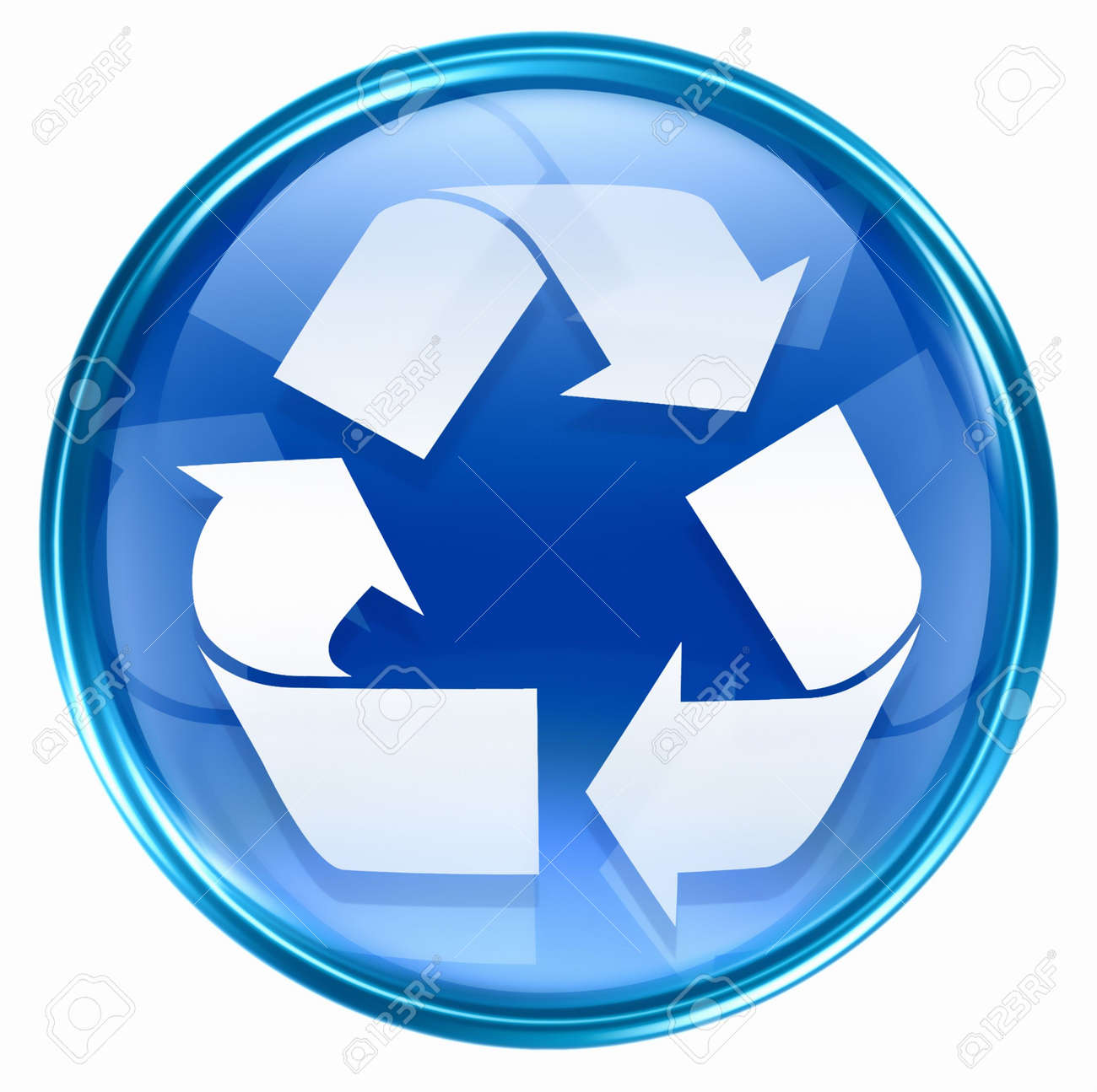 Recycling symbol icon blue, isolated on white background. Stock Photo - 2530848