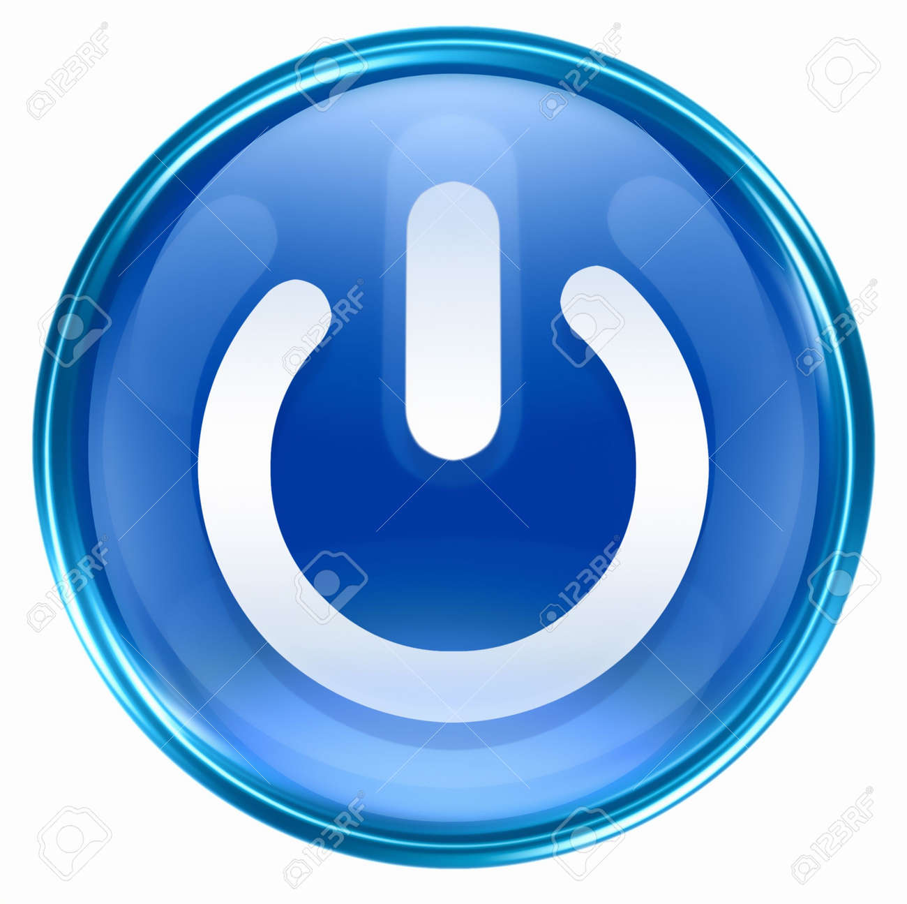 power button blue, isolated on white background. Stock Photo - 2562685