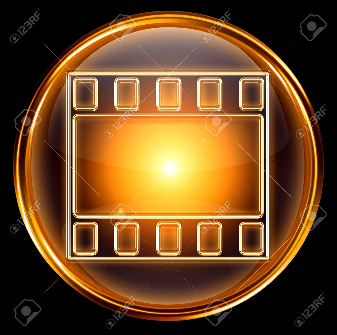 video icon gold, isolated on black background Stock Photo - 5973099