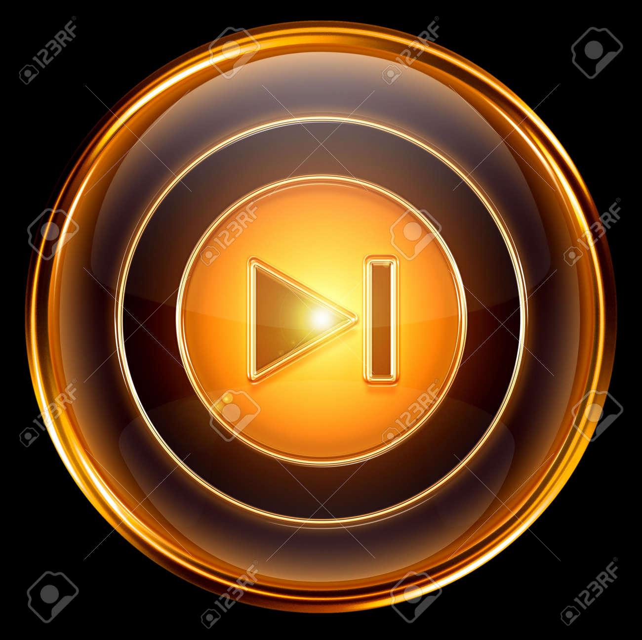 Rewind Forward icon gold, isolated on black background Stock Photo - 6173144