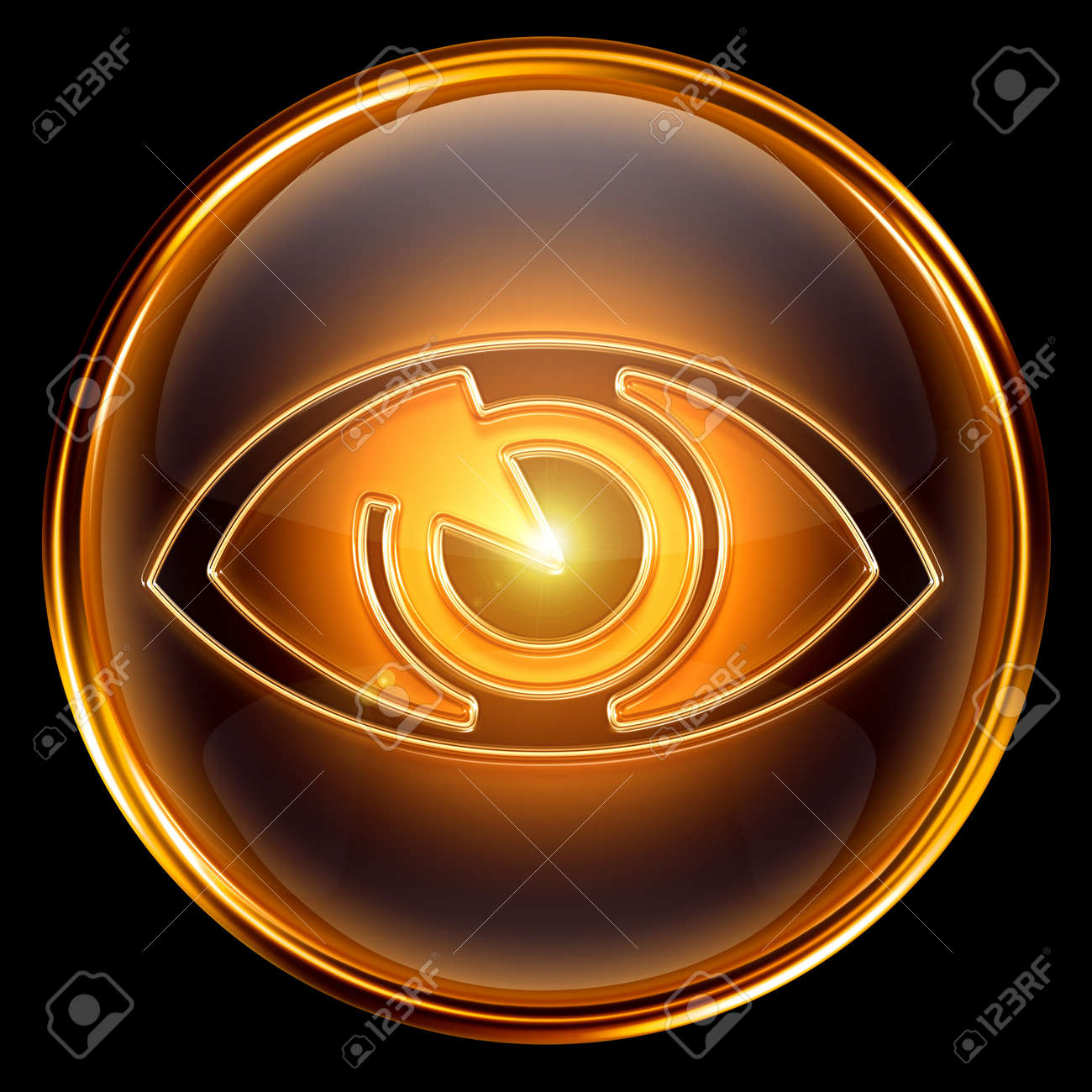 eye icon golden, isolated on black background. Stock Photo - 7150618
