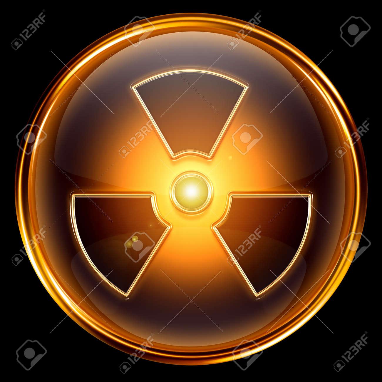 Radioactive icon golden, isolated on black background. Stock Photo - 7150598