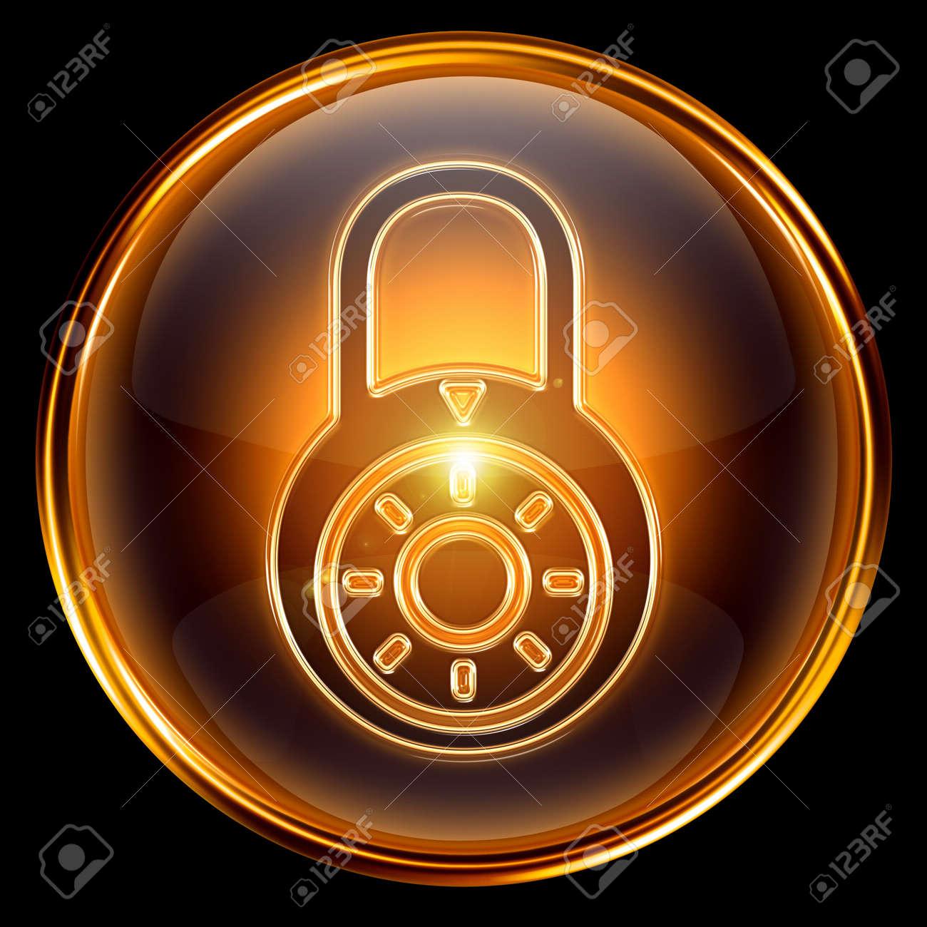 Lock closed icon gold, isolated on black background Stock Photo - 7204477