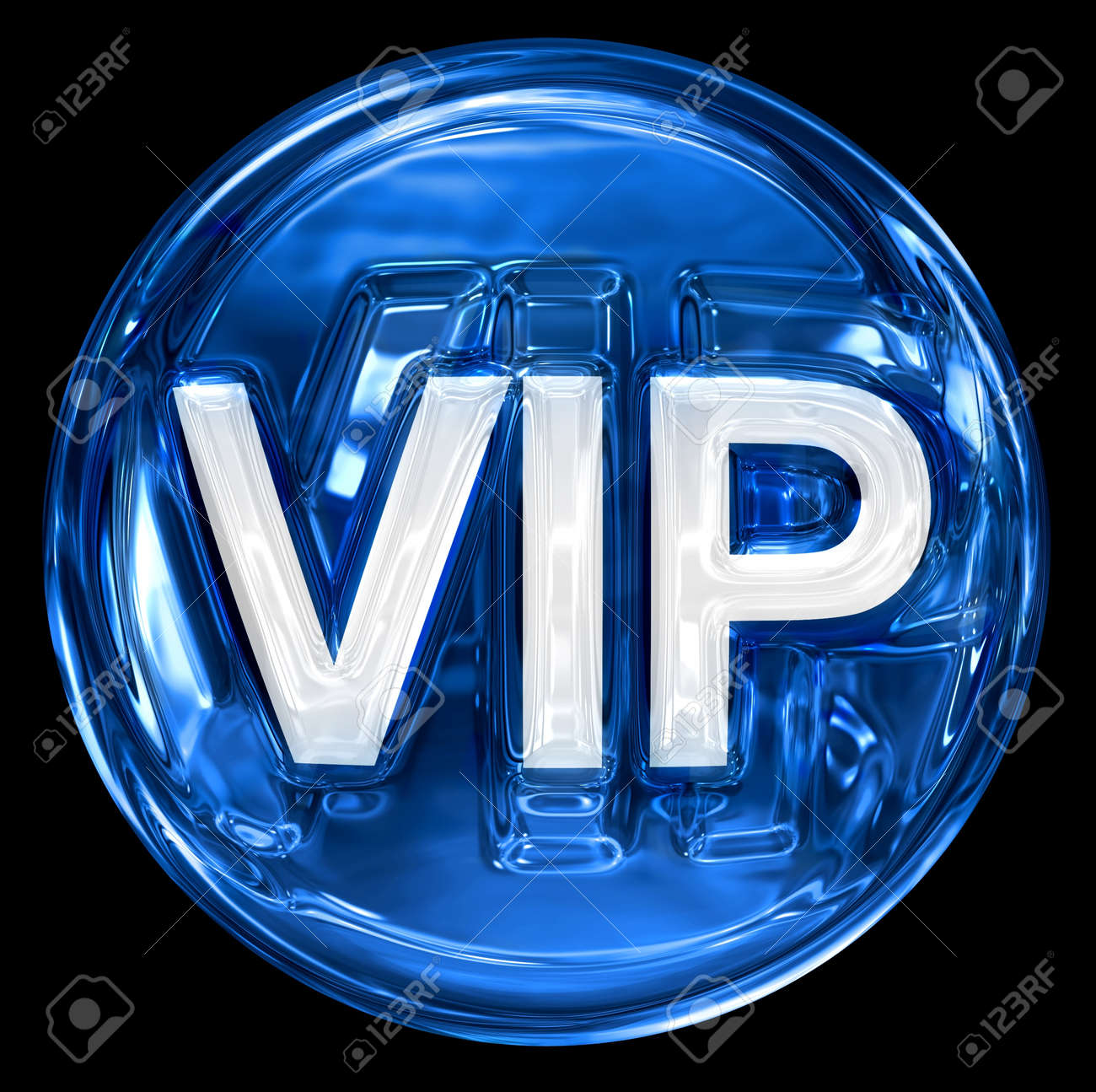 VIP icon blue, isolated on black background. Stock Photo - 8832020