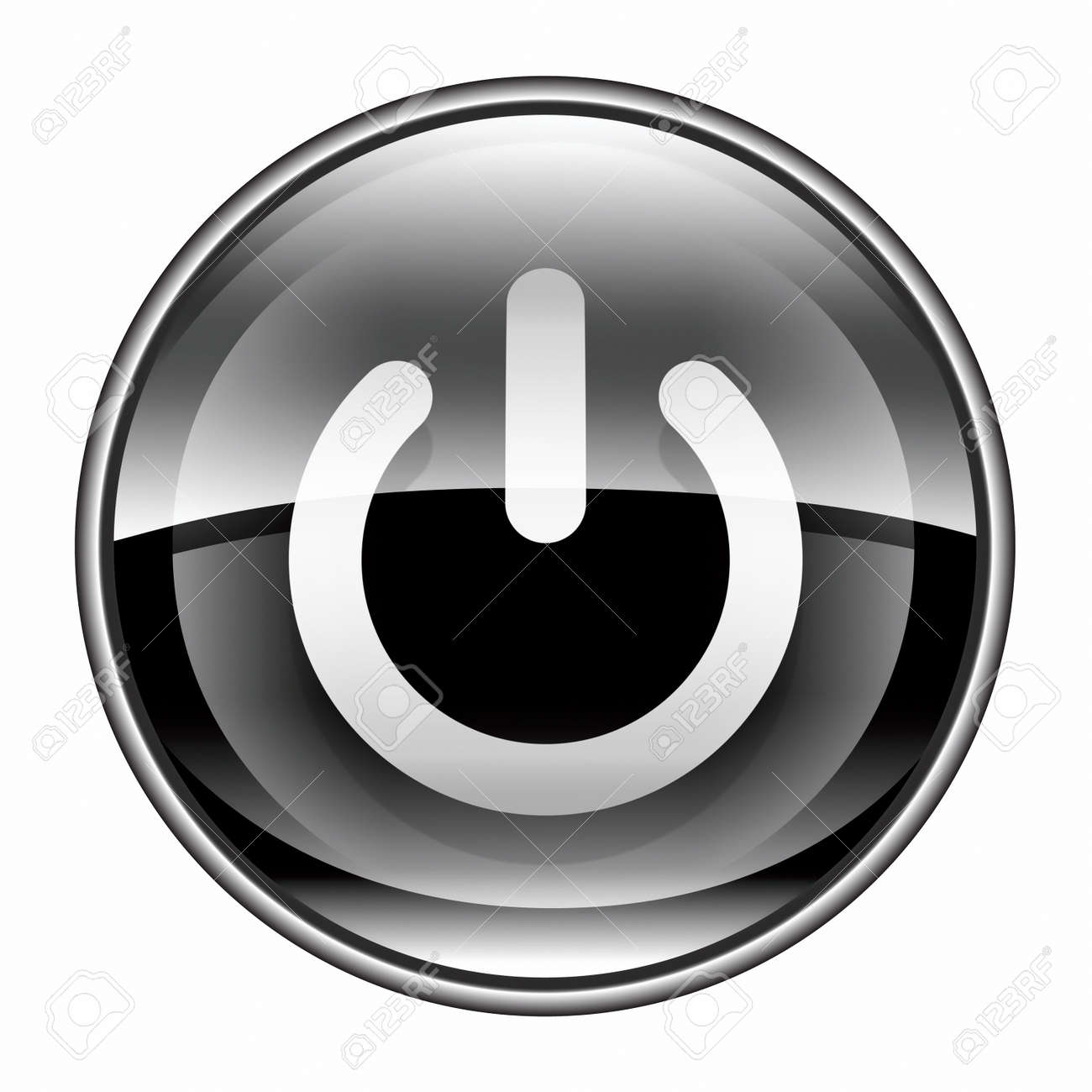power button black, isolated on white background. Stock Photo - 10020637