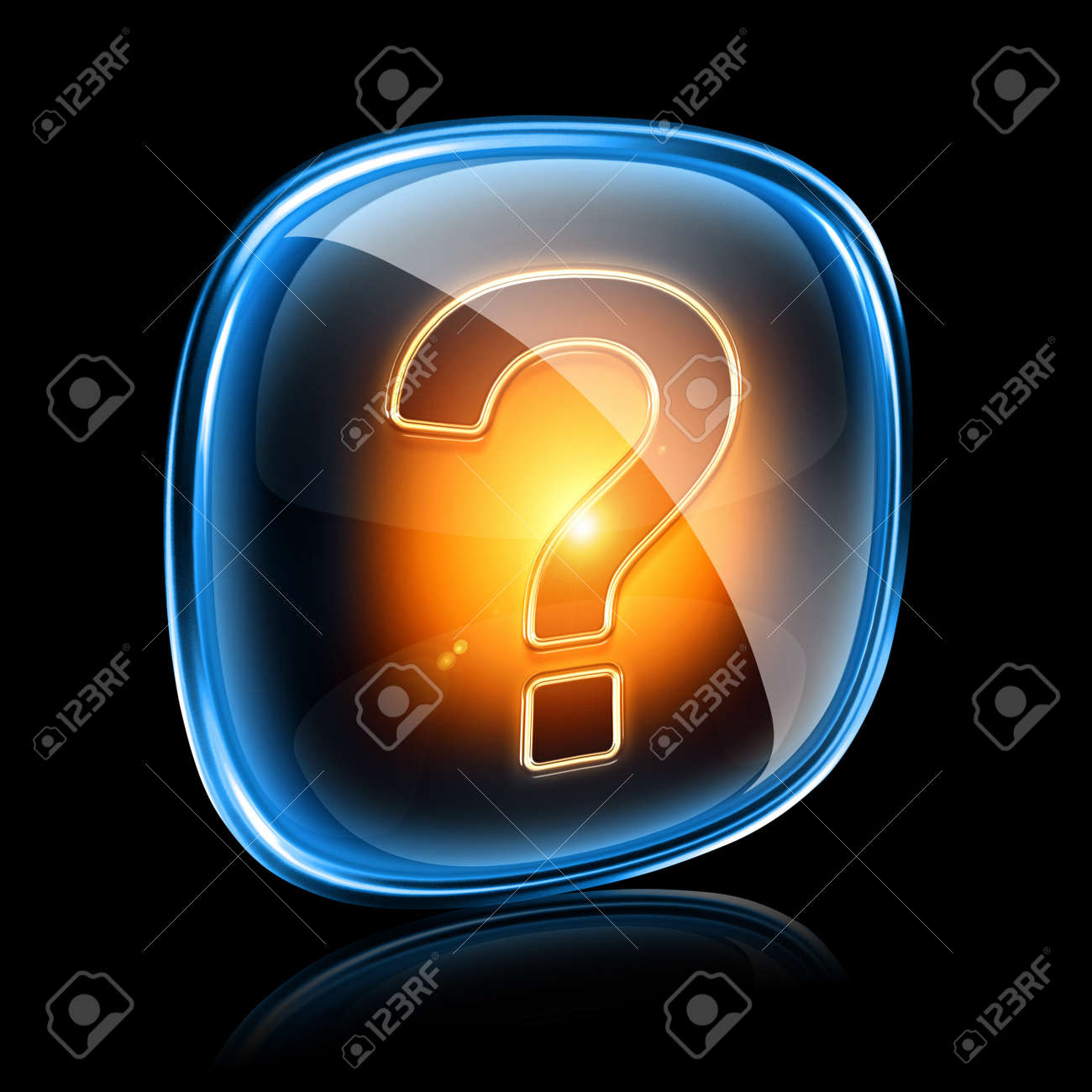 Help icon neon, isolated on black background Stock Photo - 11504126
