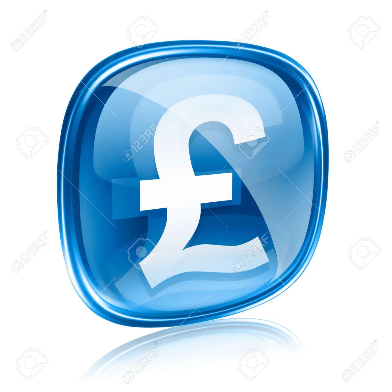 Pound icon blue glass, isolated on white background - 11769024