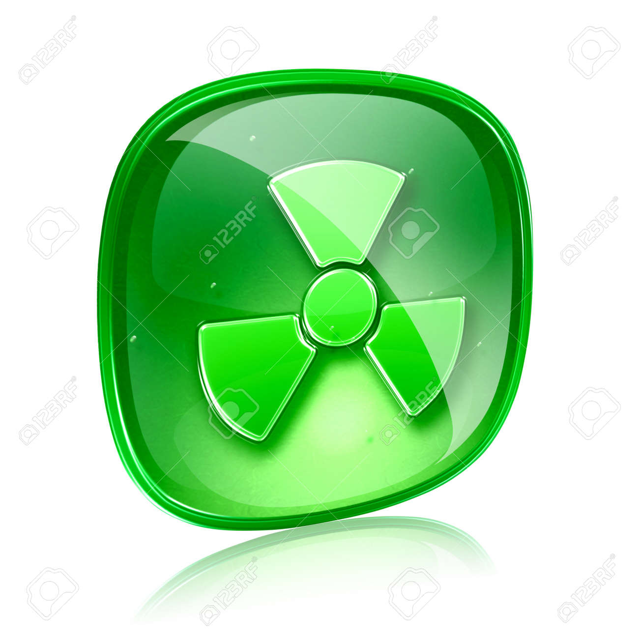 Radioactive icon green glass, isolated on white background. Stock Photo - 15916677