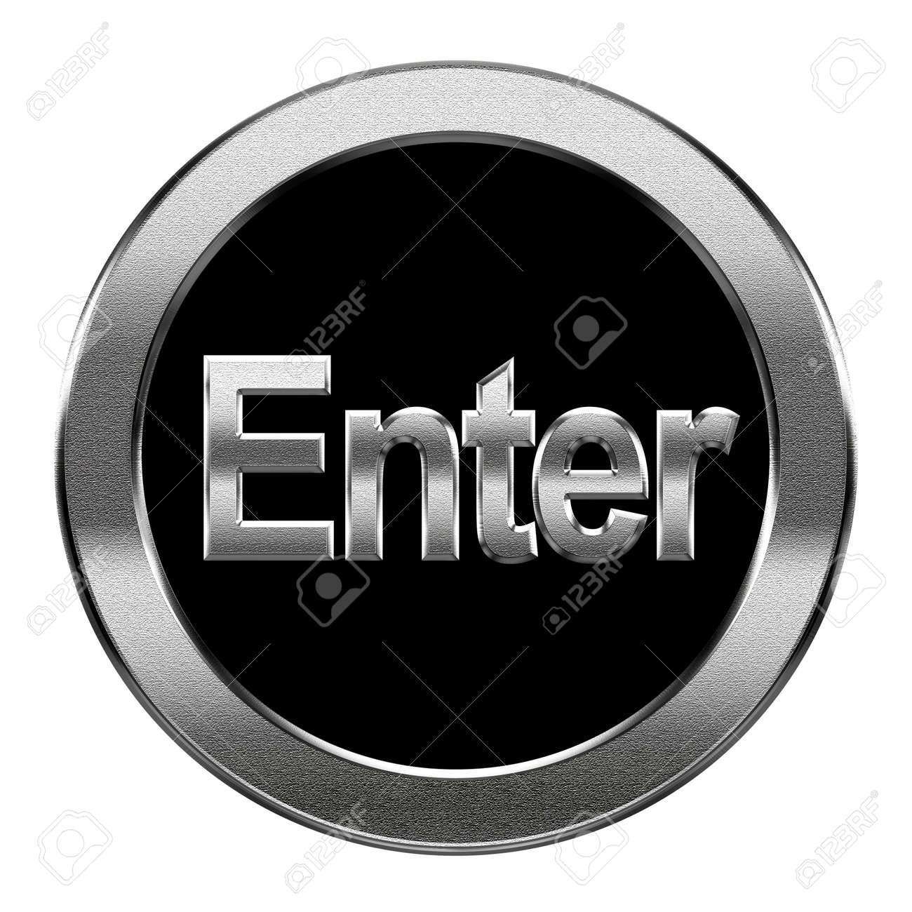 Enter icon silver, isolated on white background Stock Photo - 16334929