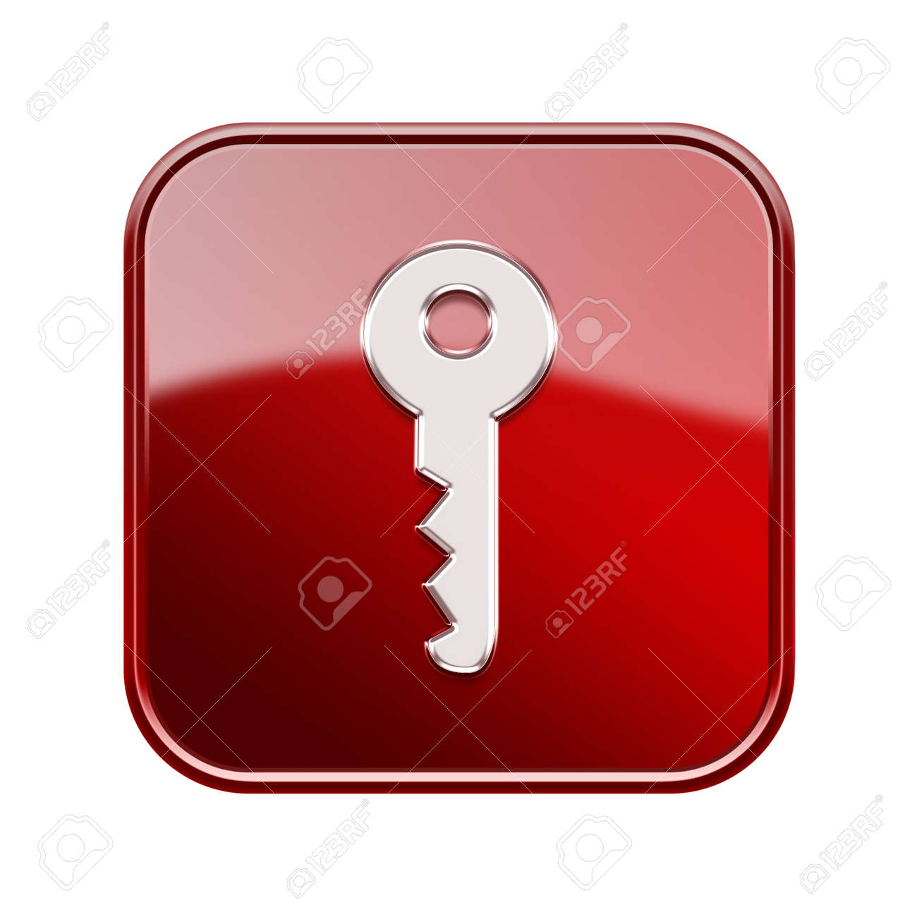 Key icon glossy red, isolated on white background Stock Photo - 16691333