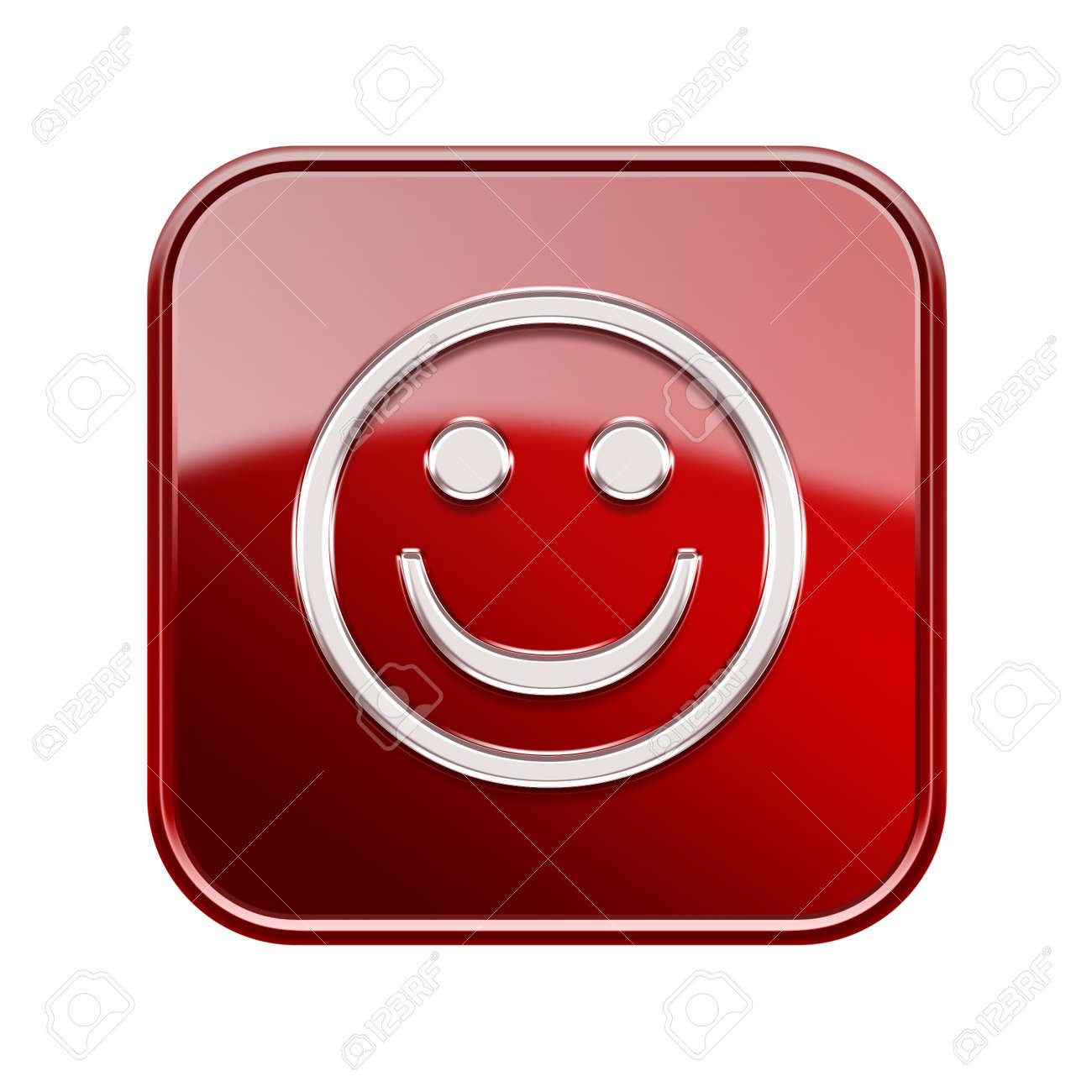 Smiley Face glossy red, isolated on white background Stock Photo - 16828019
