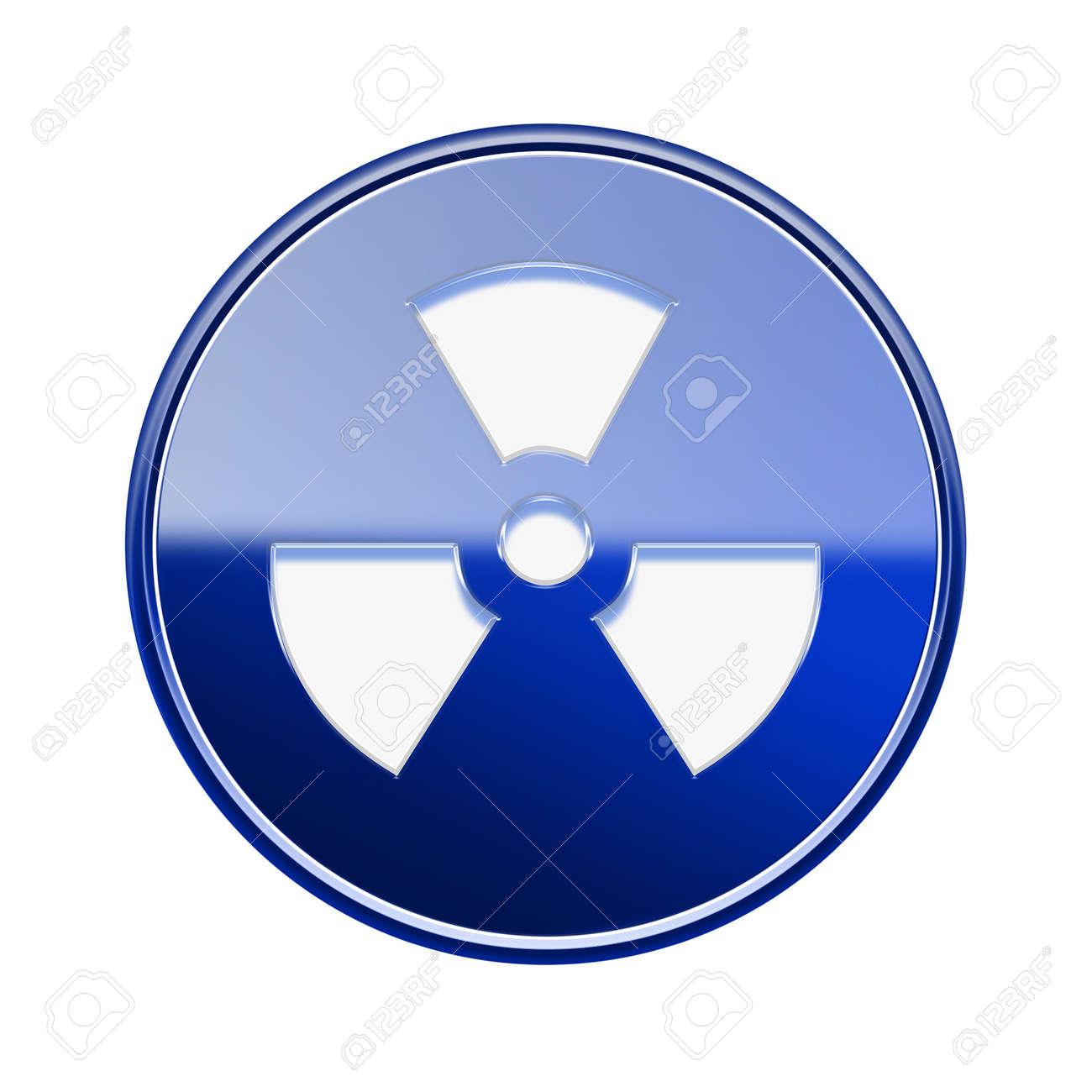 Radioactive icon glossy blue, isolated on white background. Stock Photo - 21452339