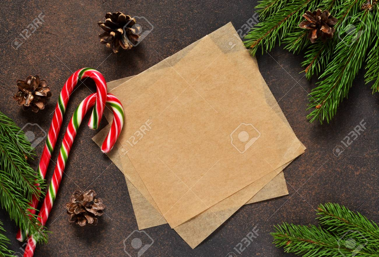 New Year Card Christmas Tree With Cones And Candies On A Brown Stock Photo Picture And Royalty Free Image Image 90385561