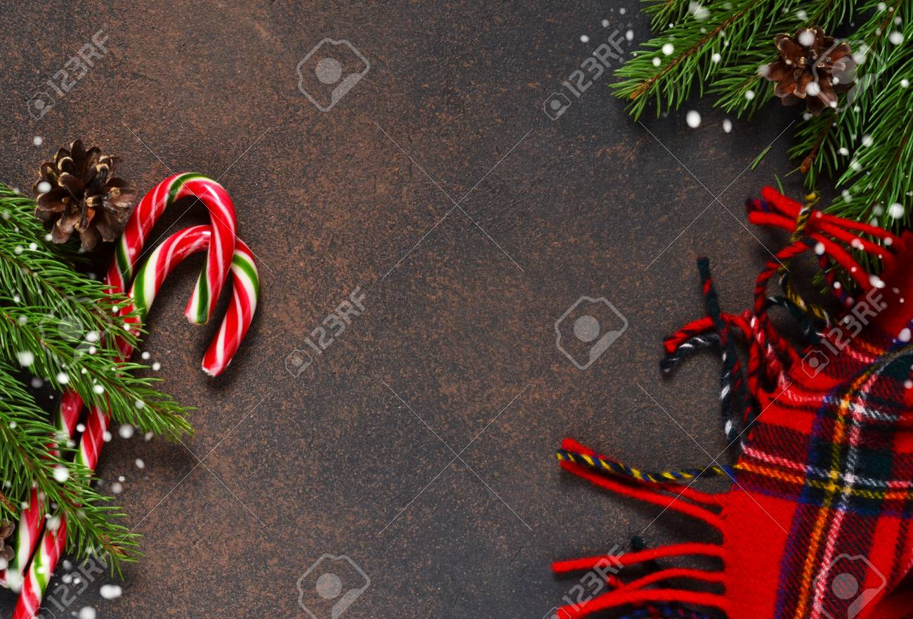 New Year Card Christmas Tree With Cones And Candies On A Brown Stock Photo Picture And Royalty Free Image Image 91649748