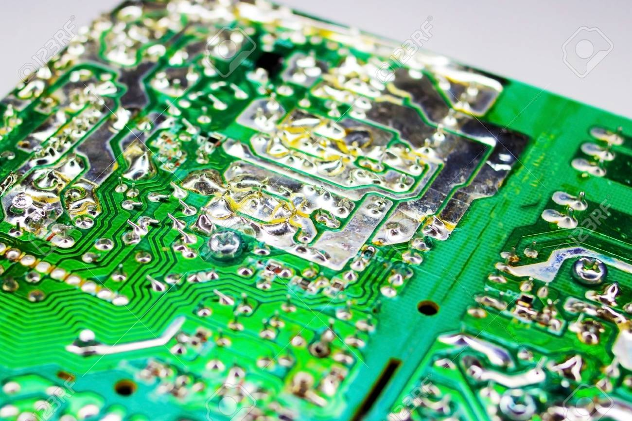 Circuit Board And Electronic Components Old Technology Of The Picture Past In Photo Stock
