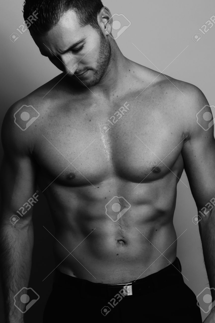 black and white picture - sexy man posing Stock Photo - 52412948
