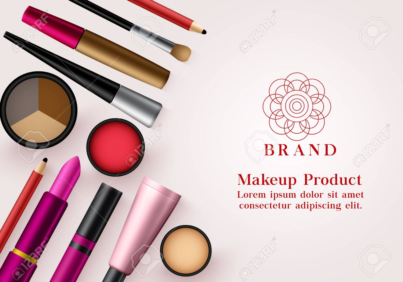 Makeup Products Vector Banner Template Face Cosmetics Collection Royalty Free Cliparts Vectors And Stock Illustration Image 140536761