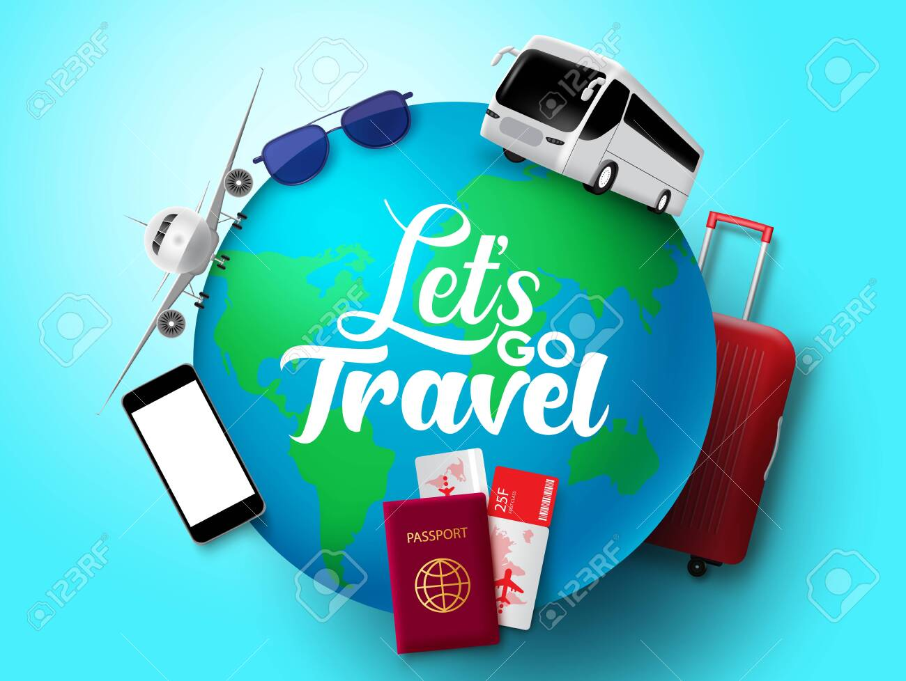 Let's go travel vector concept design. Let's go travel text in globe with transportation and tour element like bus, airplane, passport, ticket, luggage and sunglasses in blue background. Vector illustration. - 146862295