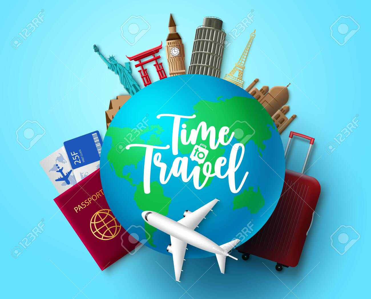 Time to travel vector concept design. Time to travel text in globe with travelling and world country landmark elements for vacation trip and tour adventure in blue background. Vector illustration. - 146862981
