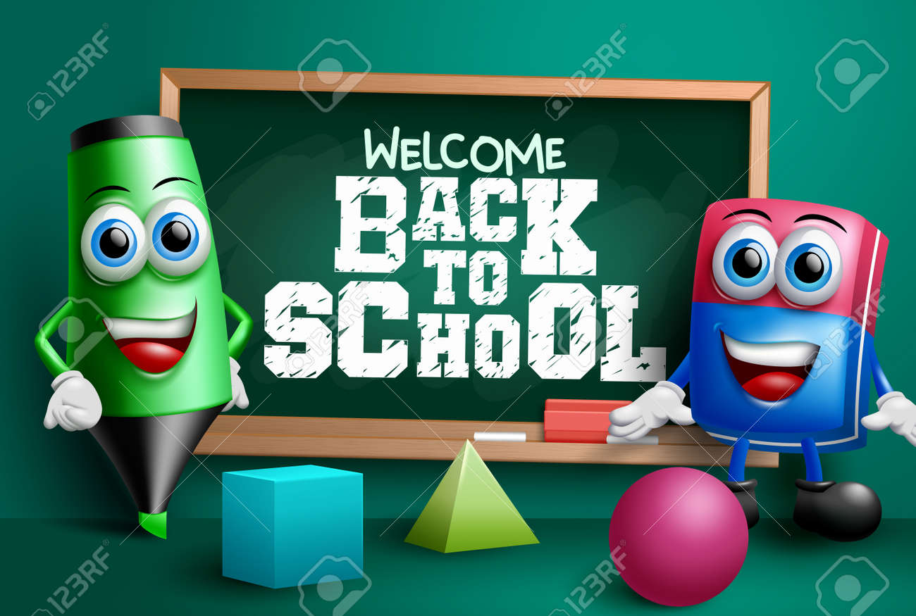 Back to school vector banner design. Welcome back to school text in chalkboard element with educational 3d characters like eraser and marker for class study background. Vector illustration - 167833954