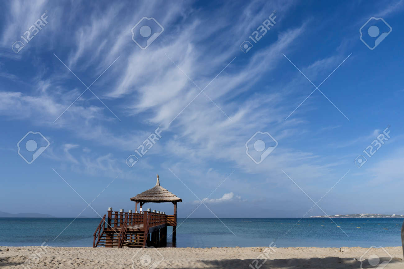 The excellent wooden pier view at a wonderful sunny day - 165052915