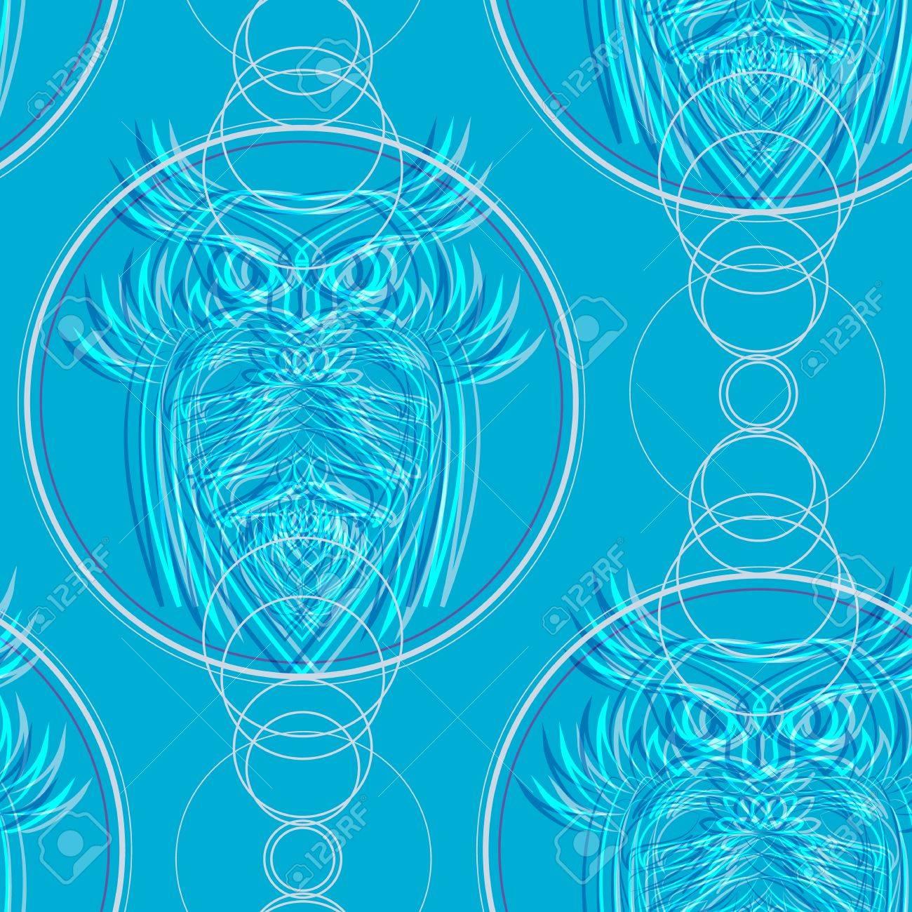 Búhos Azules Con El Patrón Círculos Vector Ilustraciones Vectoriales ...