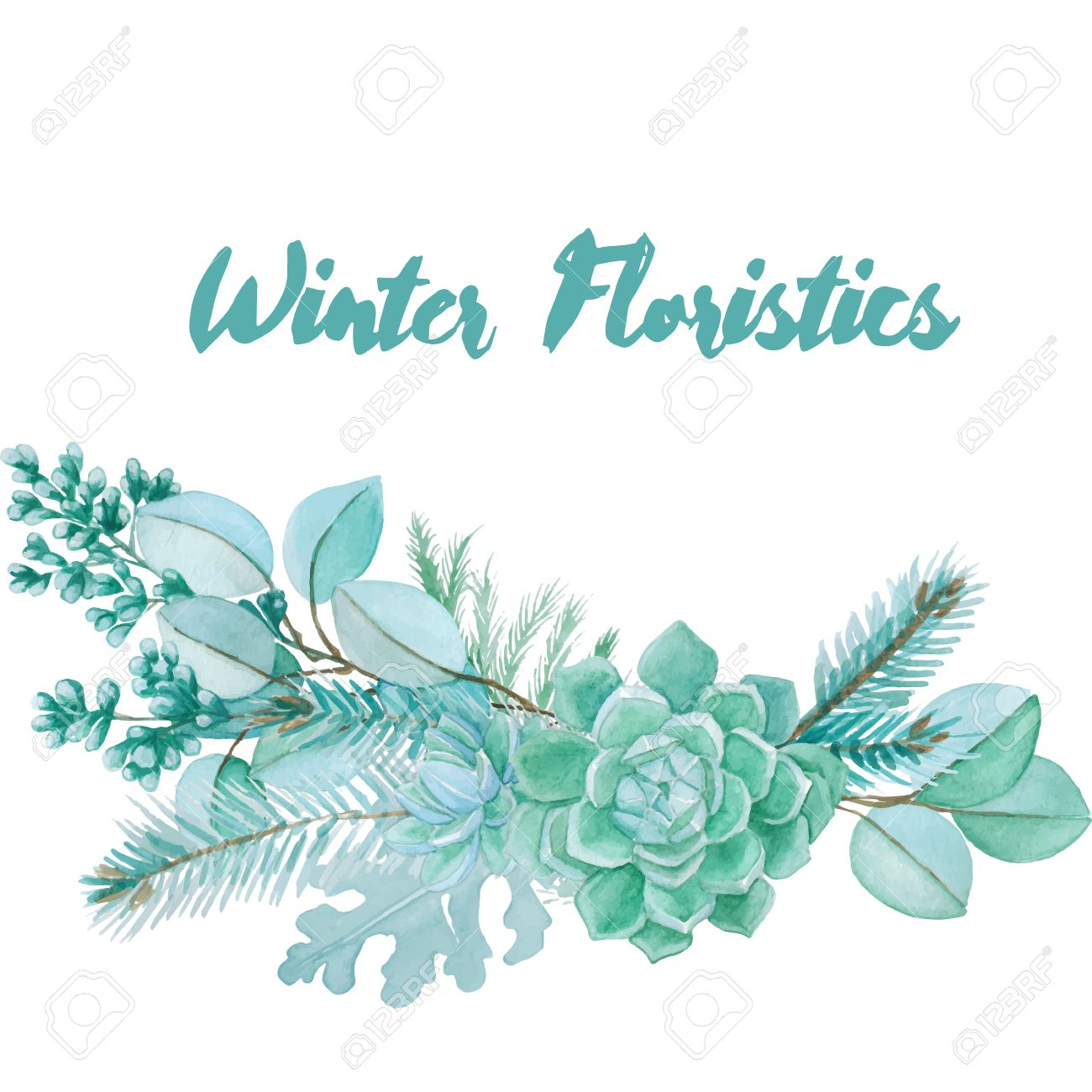 Silver Leaf Decoration Winter Watercolor Floristic Composition Made Of Succulents And