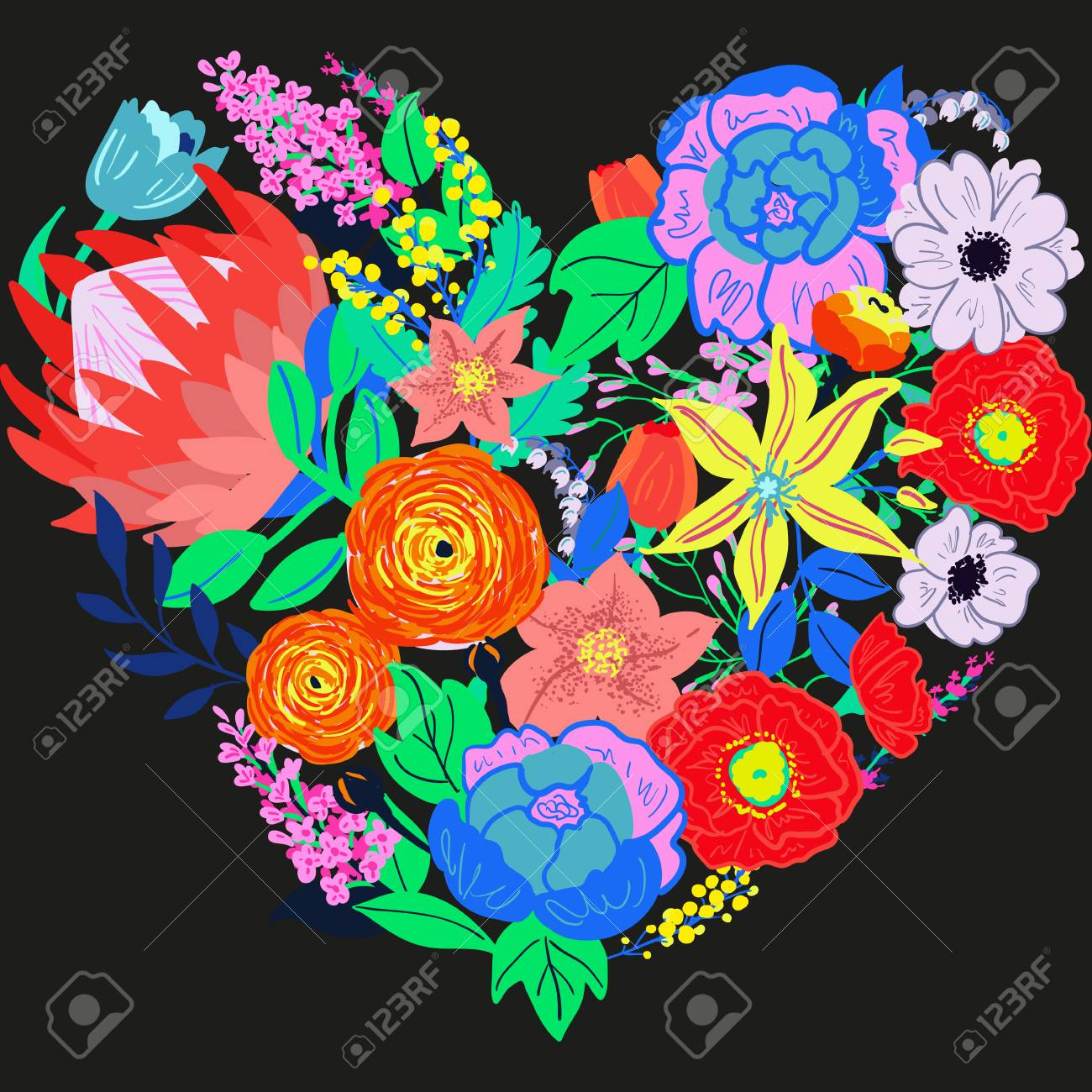 Vector Rustic Flowers Composition Bright Spring Flowers Bouquet