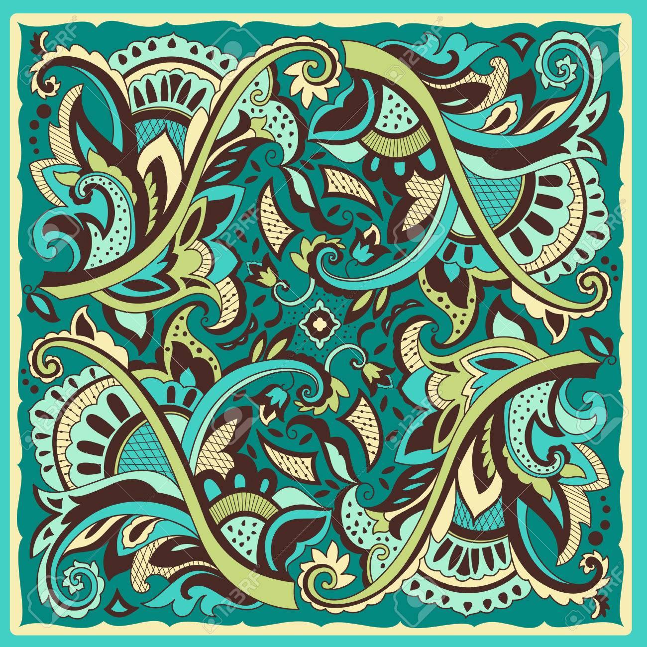 decorative motif for ceramic tiles paper napkins and handkerchiefs design wrapping paper vector - Decorative Paper Napkins