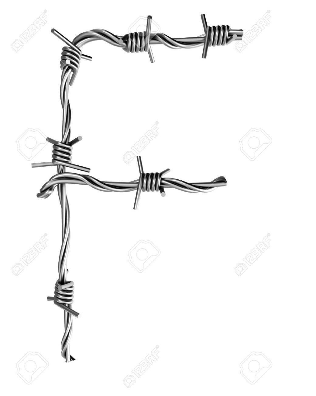 Barbed wire alphabet, F Stock Photo - 7736663