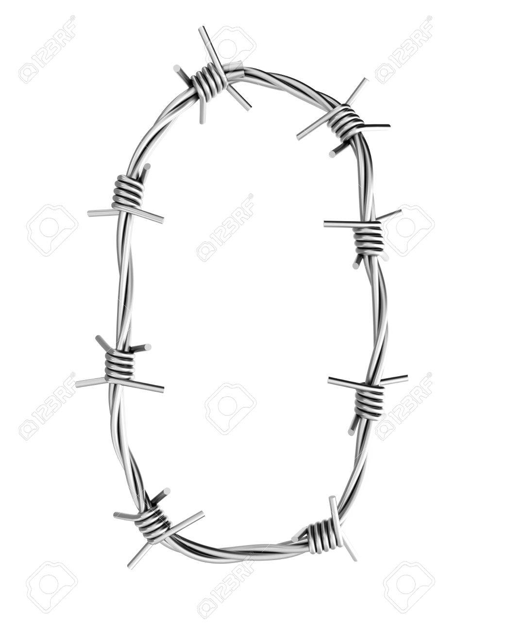 Barbed wire alphabet, 0 Stock Photo - 8043087