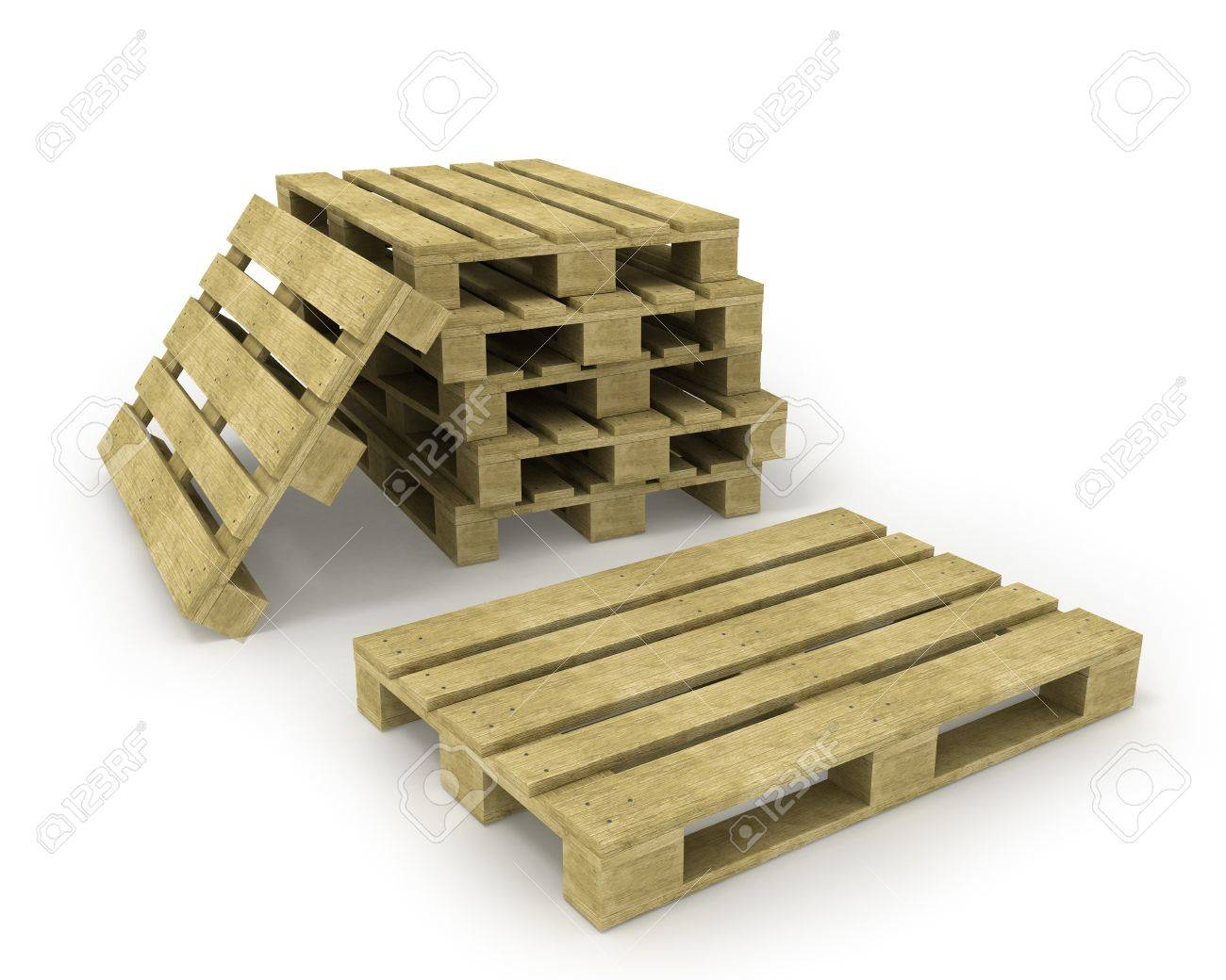 Wooden pallet and stack of pallets isolated on white Stock Photo - 8239786