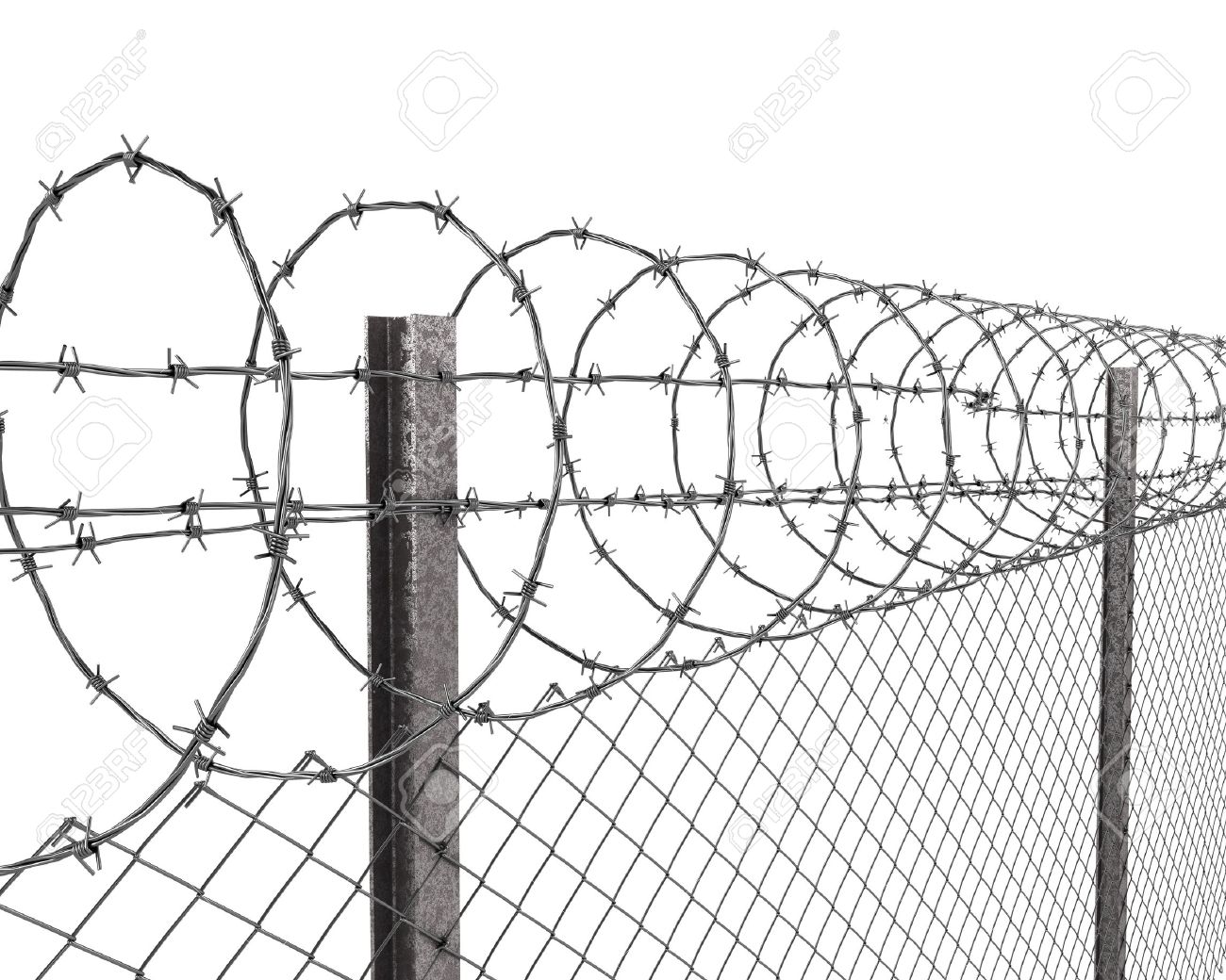 Chainlink Fence With Barbed Wire On Top Closeup Isolated On White ...