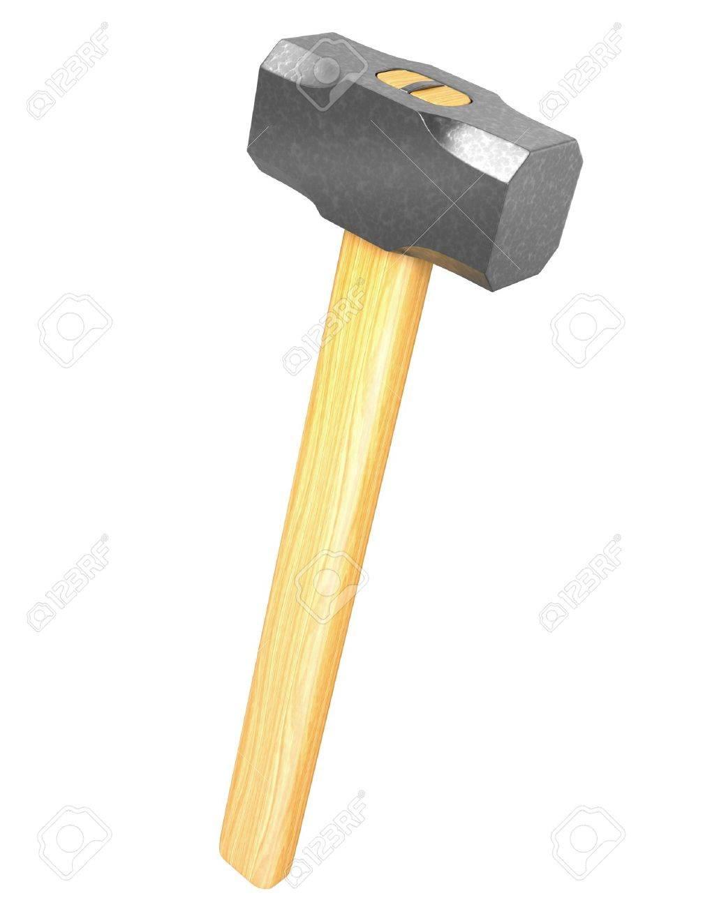 Metalen Sledge Hammer Geãsoleerd Op Witte Achtergrond Royalty Vrije