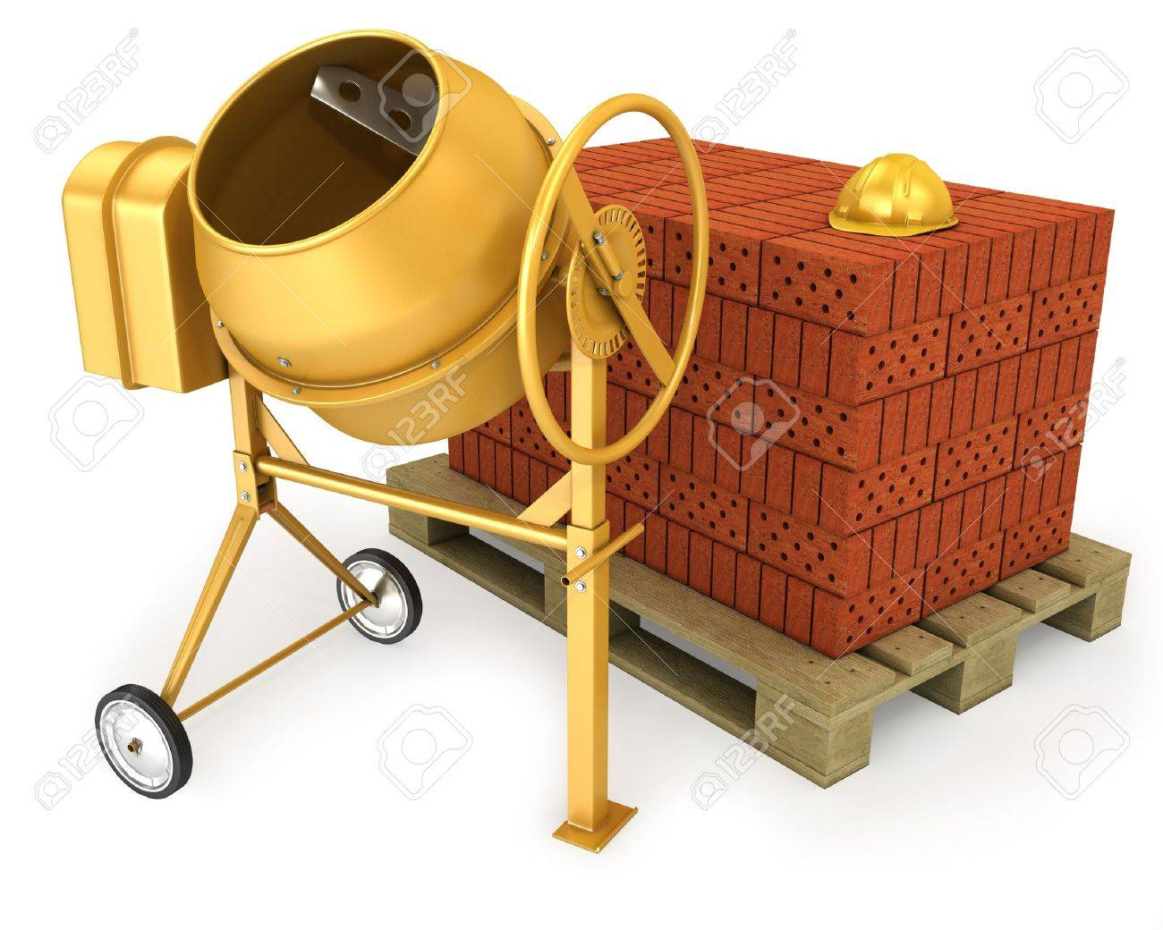 Clean new yellow concrete mixer with helmet and stack of bricks, isolated on white background Stock Photo - 10083982