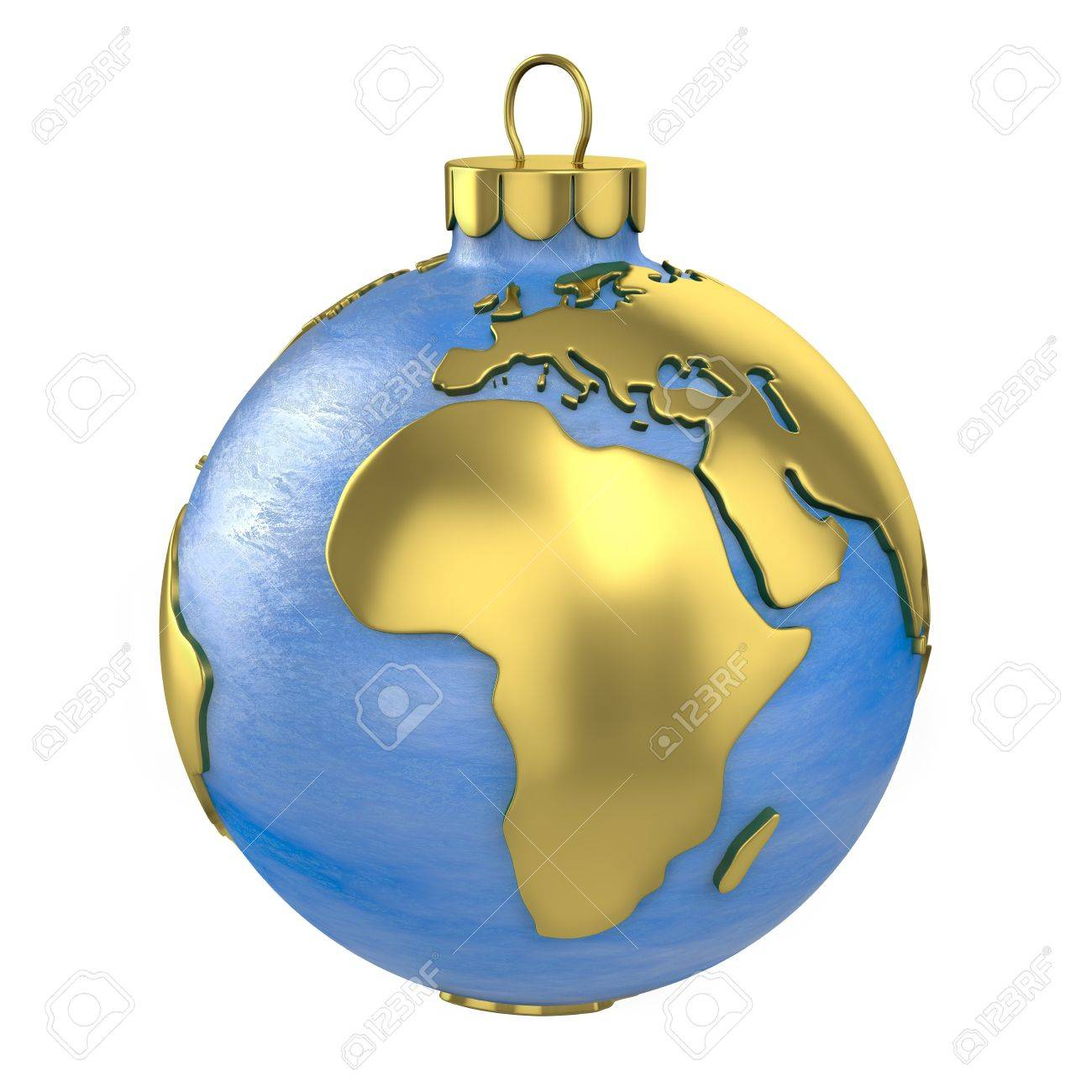 World globe christmas ornaments - Bauble World Christmas Ball Shaped As Globe Or Planet Isolated On White Background Africa