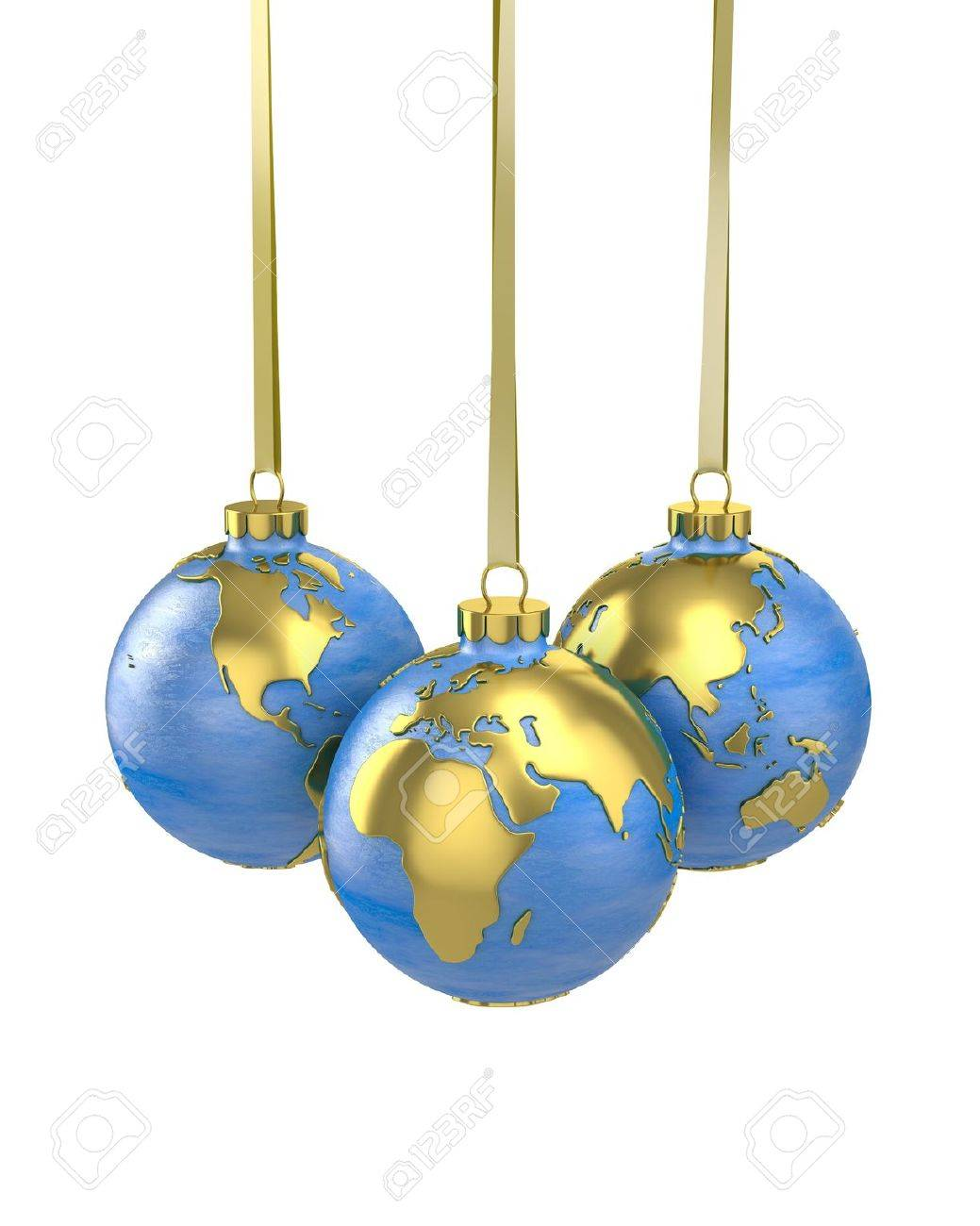World globe christmas ornaments - Bauble World Three Christmas Balls Shaped As Globe Or Planet Isolated On White Background