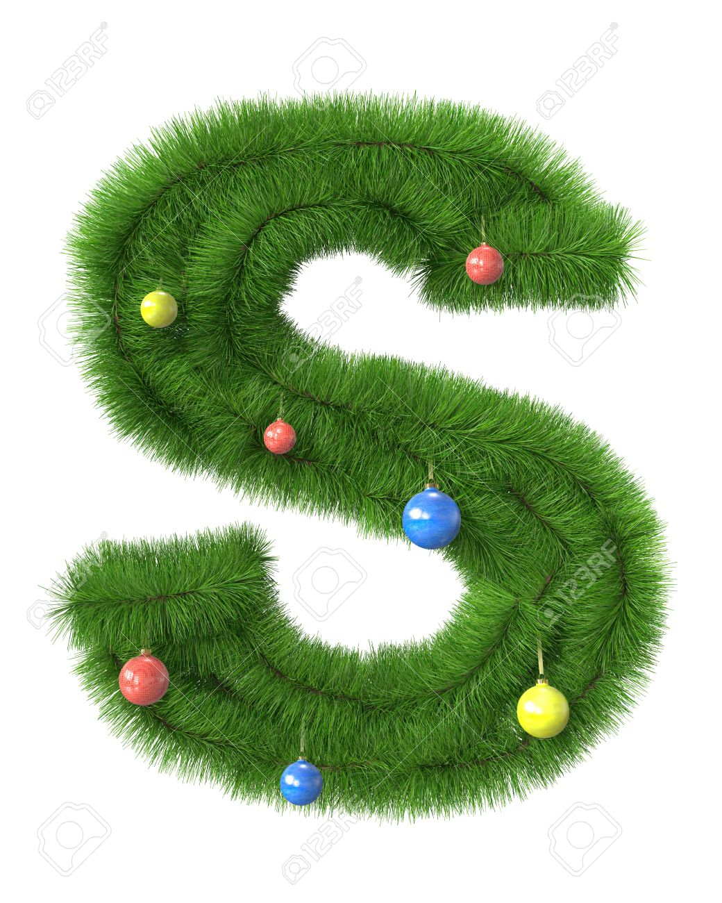 s letter made of christmas tree branches isolated on white background stock photo 11122679