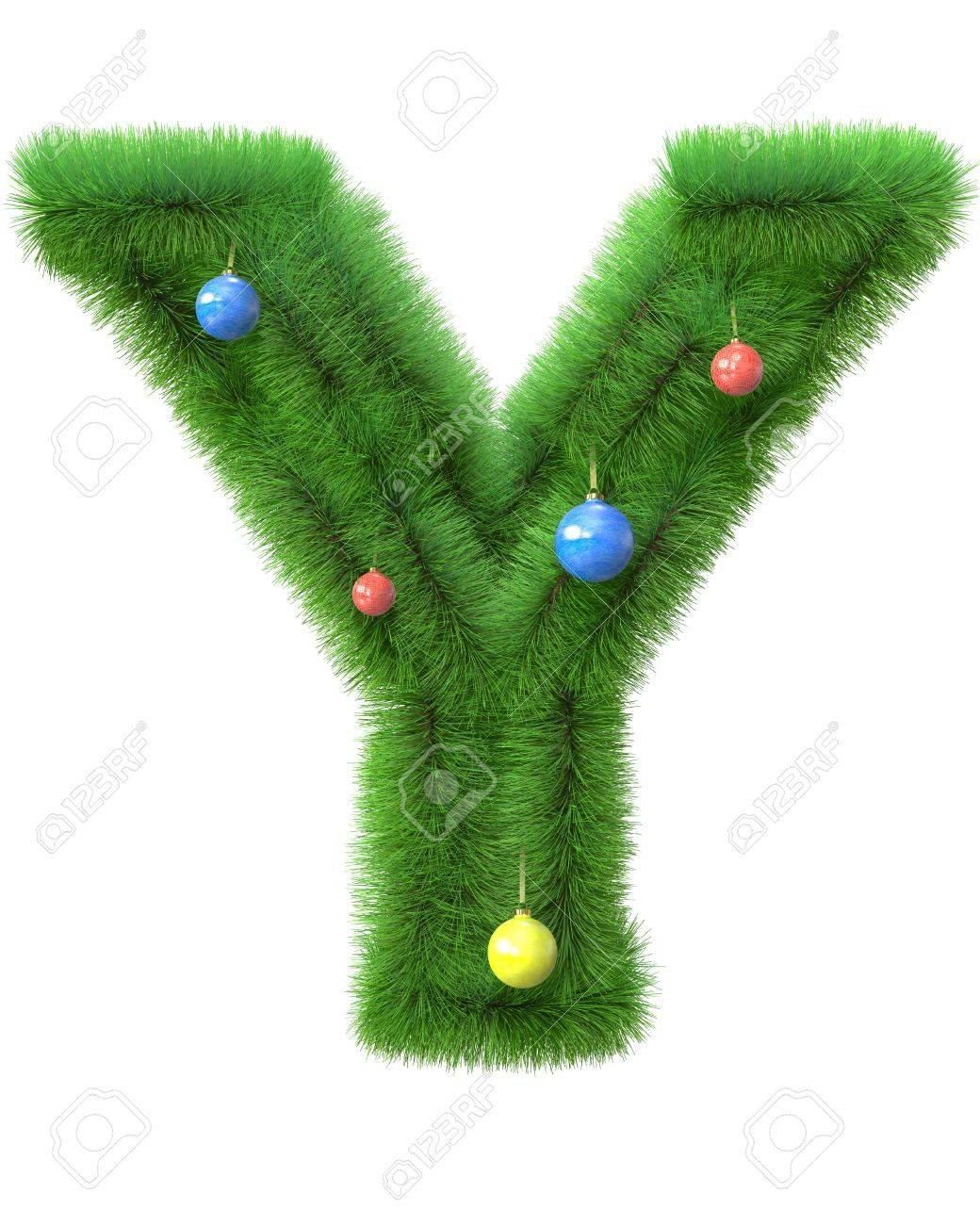 Merry Christmas Letter T.Y Letter Made Of Christmas Tree Branches Isolated On White Background