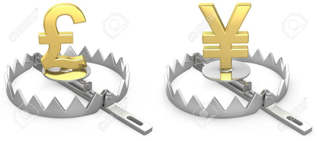 Pound and yen symbols in a bear trap, isolated on white background Stock Photo - 12711180