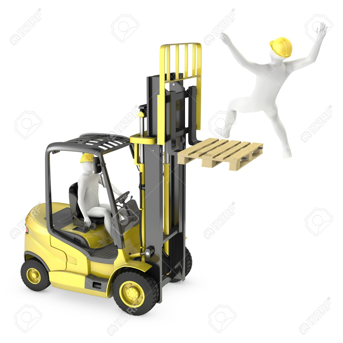 Abstract white man falling from lift truck fork, due to safety violation, isolated on white background Stock Photo - 13487062