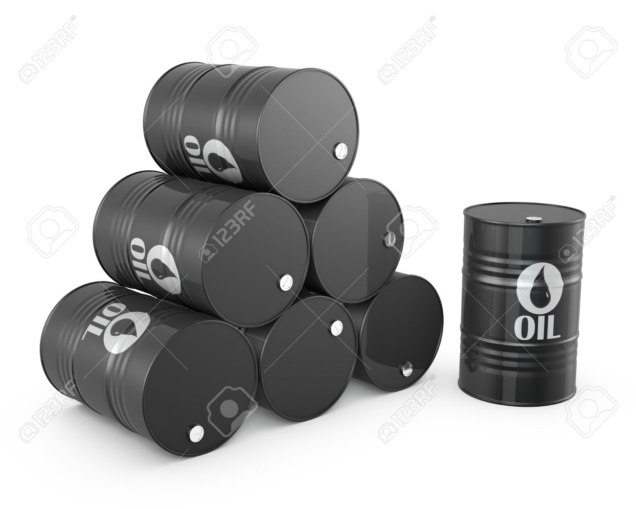Pyramid of oil barrels and single barrel, isolated on white background Stock Photo - 14282884
