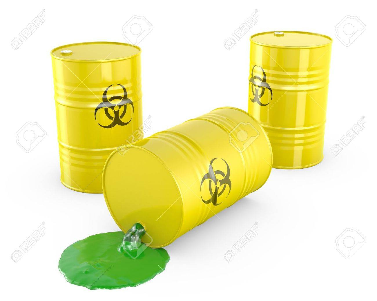Toxic waste spilling from barrel, isolated on white background Stock Photo - 14839873