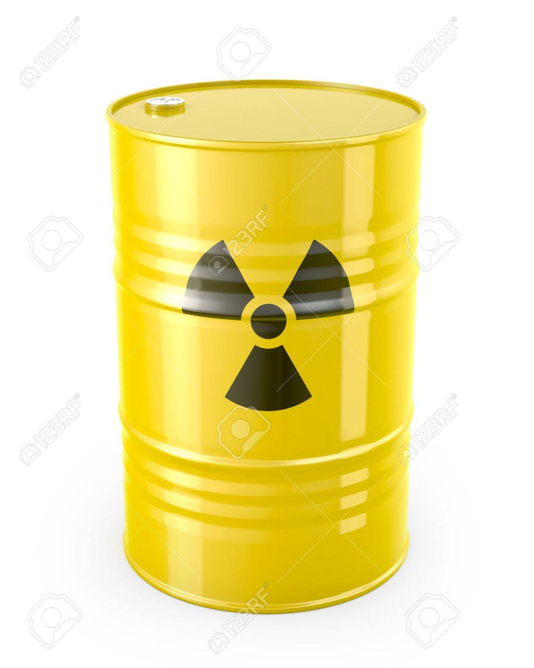 Barrel with radioactive symbol, isolated on white background Stock Photo - 14839870
